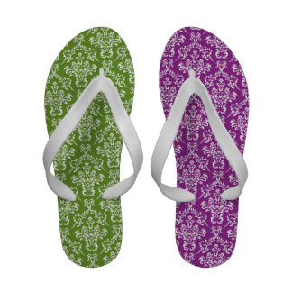 French Damask Ornaments Swirls - Green White Sandals