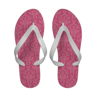 French Damask Ornaments Swirls - Pink Flip Flops