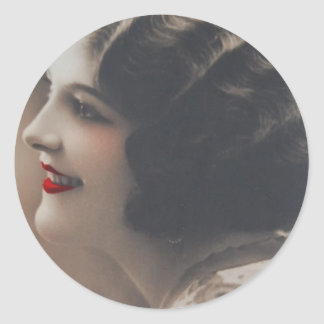 French Deco Lady Vintage Photo Round Sticker