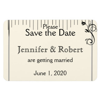 French Deco Rose Black Cream Wedding Save the Date Rectangle Magnets