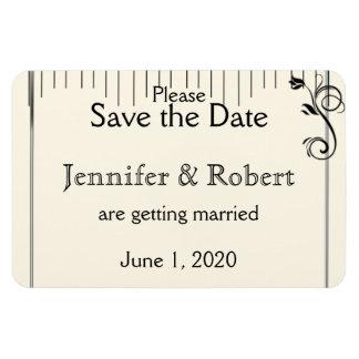 French Deco Rose Black Cream Wedding Save the Date Rectangular Photo Magnet