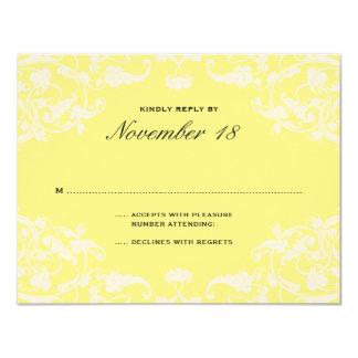 French Dream Wedding RSVP Yellow 11 Cm X 14 Cm Invitation Card