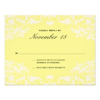 French Dream Wedding RSVP Yellow Custom Invitations