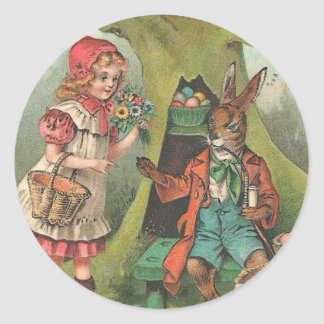 French Easter Bunny With Pipe Vintage Classic Round Sticker
