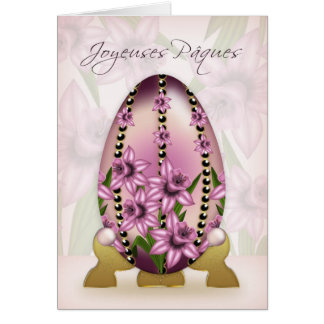 French Easter Card With Decorated Egg And Daffodil