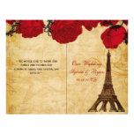 French Eiffel tower red  folded Wedding program Flyer Design