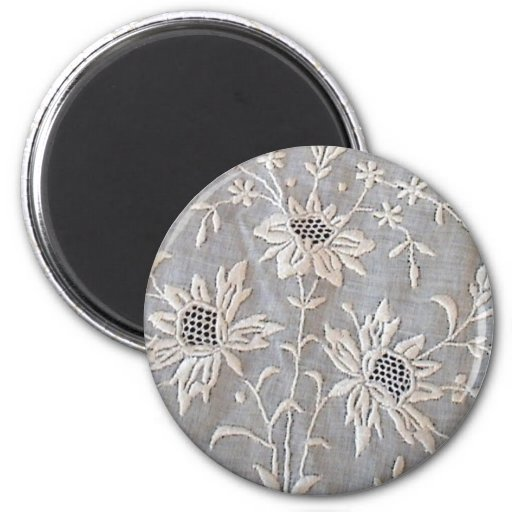 French Embroidered Whitework Round Magnets