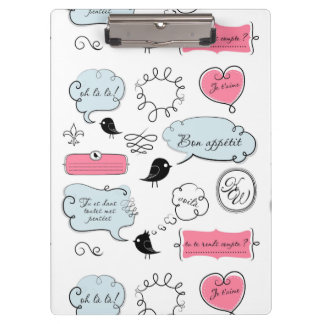 French Fashion Style Speech Bubbles Clipboard