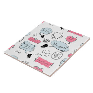 French Fashion Style Speech Bubbles Large Square Tile