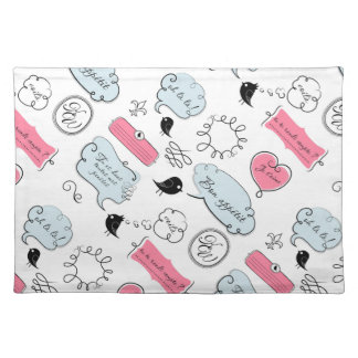 French Fashion Style Speech Bubbles Place Mat