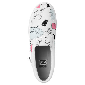 French Fashion Style Speech Bubbles Slip-On Shoes