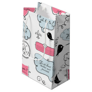 French Fashion Style Speech Bubbles Small Gift Bag