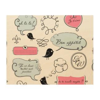 French Fashion Style Speech Bubbles Wood Print