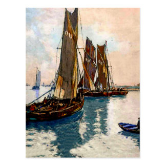 French fishing boats 1925 postcard