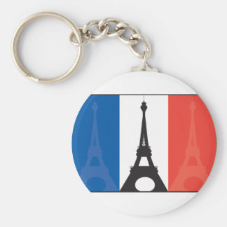 French Flag and Eiffel Tower Basic Round Button Key Ring