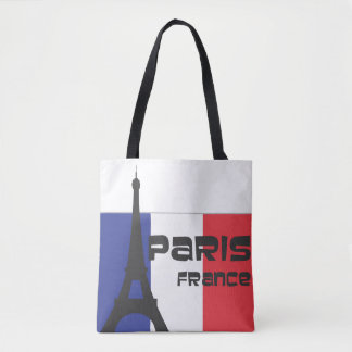 French Flag and the Eiffel Tower and Paris France Tote Bag