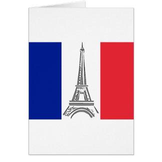 French Flag Eiffel Tower Paris Note Card