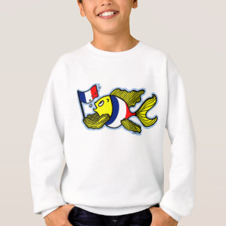 French Flag Fish funny cartoon Sweatshirt