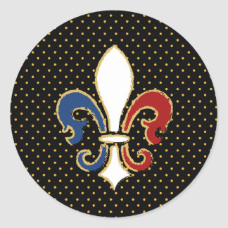 French Flag Fleur de Lis with Gold Classic Round Sticker