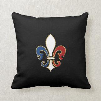 French Flag Fleur de Lis with Gold Cushion