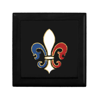 French Flag Fleur de Lis with Gold Small Square Gift Box