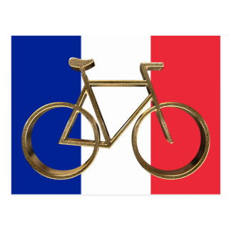 French Flag Golden Bike Bicycle Cycling Cyclist Postcard