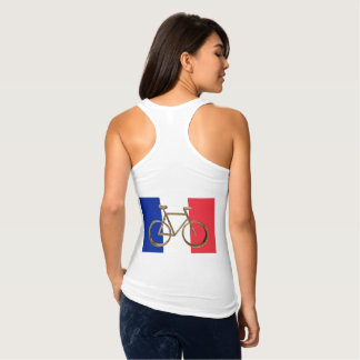 French Flag Golden Bike Bicycle Cycling Cyclist Singlet
