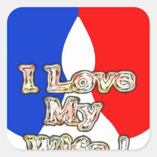French Flag Hakuna Matata I love My Wife image.png Square Sticker