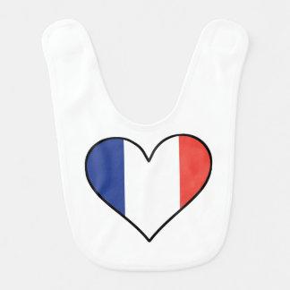 French Flag Heart Bib