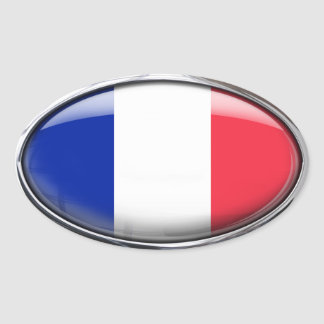 French Flag in Glass Oval (pack of 4) Oval Sticker