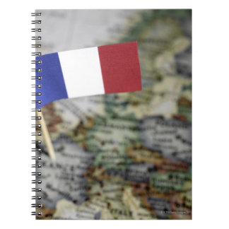 French flag in map spiral notebooks