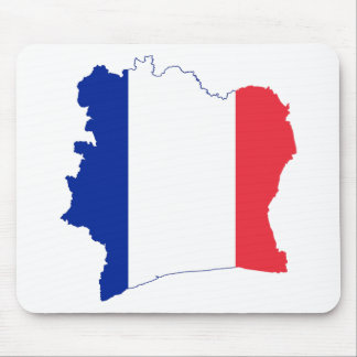 french Flag in the Shape of France Mousepads
