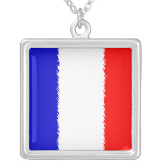French Flag Silver Plated Necklace