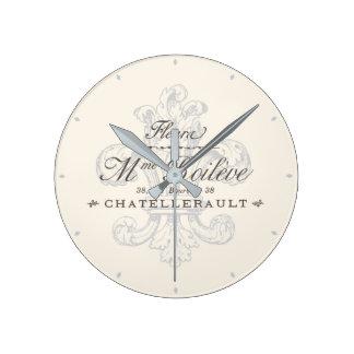 French Fleur de Lis Chatellerault Grey Wall Clock