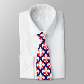French fleur de lis pattern blue red & white tie