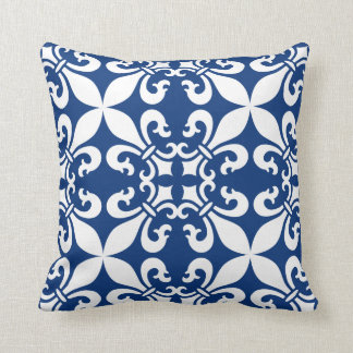 French Fleur de Lys Pattern Royal Blue Cushion