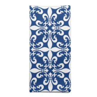 French Fleur de Lys Pattern Royal Blue Napkin