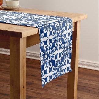 French Fleur de Lys Pattern Royal Blue Short Table Runner