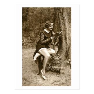 French Flirt - Vintage Pinup Girl Reading Tease Postcard