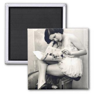 French Flirt - Vintage Pinup Girl Square Magnet