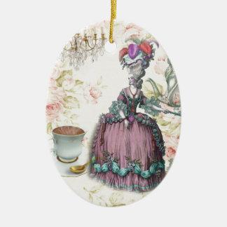 French floral Paris Tea Party Marie Antoinette Ceramic Oval Decoration
