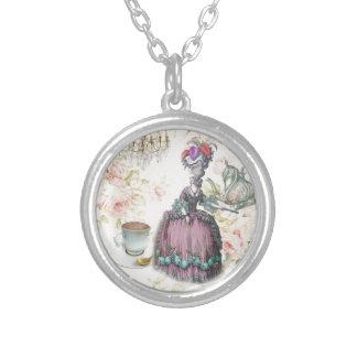 French floral Paris Tea Party Marie Antoinette Round Pendant Necklace