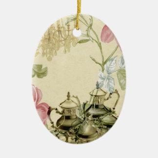 French floral Teacup Teapot Paris Tea Party Ceramic Oval Decoration