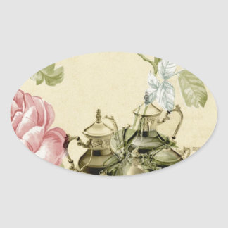 French floral Teacup Teapot Paris Tea Party Oval Sticker