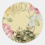 French floral Teacup Teapot Paris Tea Party Round Sticker