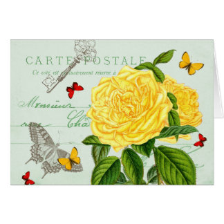 French floral vintage note card w/ beautiful rose