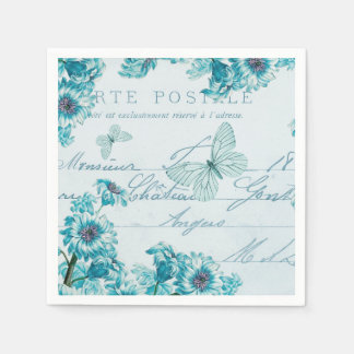 French floral vintage paper napkins w/ blue flower