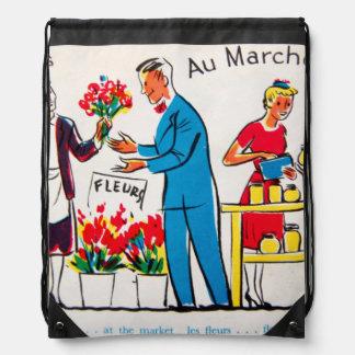 French Flower And Honey Drawstring Bag
