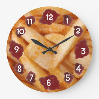 French Fries and Ketchup Large Clock
