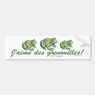 French Frog - I Love Frogs Bumpersticker Bumper Sticker